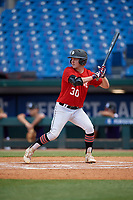 Dylan Koontz (30) of William Amos Hough High School in Huntersville, NC during the Perfect Game National Showcase at Hoover Metropolitan Stadium on June 20, 2020 in Hoover, Alabama. (Mike Janes/Four Seam Images)