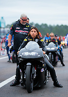 Mar 16, 2019; Gainesville, FL, USA; Crew member with NHRA pro stock motorcycle rider Jianna Salinas during the Gatornationals at Gainesville Raceway. Mandatory Credit: Mark J. Rebilas-USA TODAY Sports