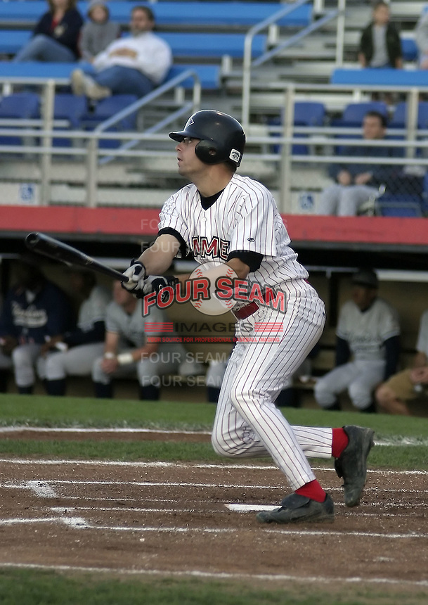 August 31, 2004:  Shortstop Jon Fulton of the Jamestown Jammers, Single-A NY-Penn League affiliate of the Florida Marlins, during a game at Russell Diethrick Park in Jamestown, NY.  Photo by:  Mike Janes/Four Seam Images