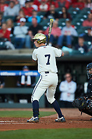 Nick Podkul (7) of the Notre Dame Fighting Irish at bat against the Louisville Cardinals in Game Eight of the 2017 ACC Baseball Championship at Louisville Slugger Field on May 25, 2017 in Louisville, Kentucky. The Cardinals defeated the Fighting Irish 10-3. (Brian Westerholt/Four Seam Images)