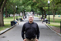 James Megonigal is a veteran of the US Army Infantry and Army National Guard and is now hoping to pursue graduate school in Boston, Mass., with help of the New England Center for Homeless Veterans. Seen here near Boston Common on Tues., June 28, 2016, Megonigal does not live at the NECHV but is taking some refresher courses in computer science through the organization. Megonigal holds two undergraduate degrees, a BS in Business Administration and an Associates in Applied Science in Mechanical Engineering. He hopes to pursue an MBA and Professional Engineer certification. Megonigal has about $60,000 in student debt and has received another $40,000 or $50,000 in education assistance through the GI bill and other programs. Megonigal says he's been treated very well by the American government and military throughout his military service and afterward.