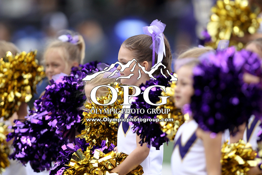 SEATTLE, WA - SEPTEMBER 9:  Washington junior cheerleaders entertained fans during the college football game between the Washington Huskies and the Montana Grizzlies on September 09, 2017 at Husky Stadium in Seattle, WA. Washington won 63-7 over Montana.
