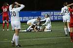 SALEM, VA - DECEMBER 3:The Falcons celebrate a goal during theDivision III Women's Soccer Championship held at Kerr Stadium on December 3, 2016 in Salem, Virginia. Washington St Louis defeated Messiah 5-4 in PKs for the national title. (Photo by Kelsey Grant/NCAA Photos)