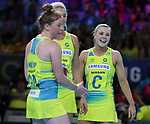 29/10/17 Fast5 2017<br /> Fast 5 Netball World Series<br /> Hisense Arena Melbourne<br /> Australia v South Africa <br /> <br /> Tegan Philip, Kate Moloney, Gretal tippett<br /> <br /> <br /> <br /> <br /> Photo: Grant Treeby