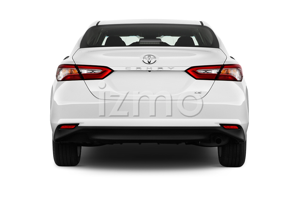 Straight rear view of a 2018 Toyota Camry LE Auto 4 Door Sedan stock images