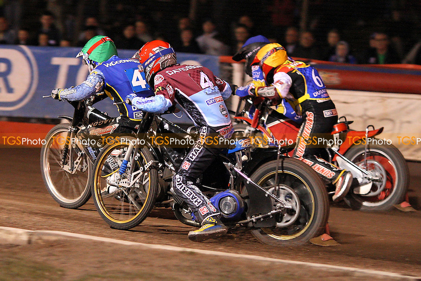 Heat 14: Hurry (yellow), Woodward (green), Davidsson (red) and Silver- Lakeside Hammers vs Eastbourne Eagles - Sky Sports Elite League Speedway at Arena Essex Raceway, Purfleet - 04/09/09 - MANDATORY CREDIT: Gavin Ellis/TGSPHOTO - Self billing applies where appropriate - Tel: 0845 094 6026