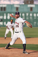 Kyle Westwood #26 of the Lancaster JetHawks pitches against the San Jose Giants at The Hanger on May 3, 2014 in Lancaster, California. San Jose defeated Lancaster, 5-4. (Larry Goren/Four Seam Images)