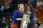 "CHARLOTTESVILLE, VA - MARCH 03: University of Virginia President Teresa Ann ""Terry"" Sullivan was honored during the first half of the game. The University of Virginia Cavaliers hosted the University of Notre Dame Fighting Irish on March 3, 2018 at John Paul Jones Arena in Charlottesville, VA in a Division I men's college basketball game. Virginia won the game 62-57."