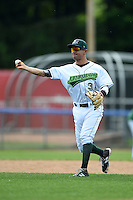 Jamestown Jammers third baseman Francisco Aponte (31) during practice before a game against the Vermont Lake Monsters on July 12, 2014 at Russell Diethrick Park in Jamestown, New York.  Jamestown defeated Vermont 3-2.  (Mike Janes/Four Seam Images)