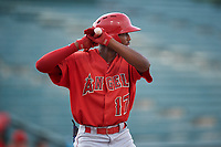 Trent Deveaux (17), of the AZL Angels, at bat during an Arizona League game against the AZL Padres 1 on August 5, 2019 at Tempe Diablo Stadium in Tempe, Arizona. AZL Padres 1 defeated the AZL Angels 5-0. (Zachary Lucy/Four Seam Images)