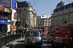 View of Piccadilly Circus and traffic, London, England