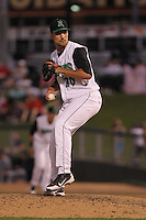 Dayton Dragons pitcher Ryan Kemp #20 delivers a pitch during a game against the Lake County Captains at Fifth Third Field on June 25, 2012 in Dayton, Ohio. Lake County defeated Dayton 8-3. (Brace Hemmelgarn/Four Seam Images)