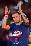 Saul Niguez Esclapez of Atletico de Madrid celebrates the team winning the 2018 UEFA Super Cup after the La Liga 2018-19 match between Atletico de Madrid and Rayo Vallecano at Wanda Metropolitano on August 25 2018 in Madrid, Spain. Photo by Diego Souto / Power Sport Images