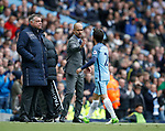 Josep Guardiola manager of Manchester City welcomes substituted David Silva of Manchester City during the English Premier League match at the Etihad Stadium, Manchester. Picture date: May 6th 2017. Pic credit should read: Simon Bellis/Sportimage
