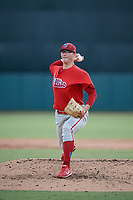 Philadelphia Phillies pitcher Jake Kinney (43) delivers a pitch during a Florida Instructional League game against the Baltimore Orioles on October 4, 2018 at Ed Smith Stadium in Sarasota, Florida.  (Mike Janes/Four Seam Images)