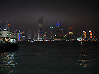 Hong Kong skyline at night with Star Ferry