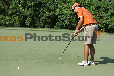University of Texas freshman Beau Hossler putts during the Carpet Capital Collegiate at The Farm Golf Club in Rocky Face, Ga., on Sunday, Sept. 8. The Longhorns return to The Farm as defending champions after shooting a 13-under 851 in 2012.<br /> <br /> Photo by Patrick Smith