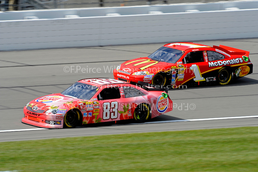 Landon Cassill, (#83) Burger King/Dr. Pepper Camry and Jamie McMurray (#1)