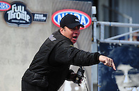Sept. 25, 2011; Ennis, TX, USA: NHRA top fuel dragster driver Scott Palmer during the Fall Nationals at the Texas Motorplex. Mandatory Credit: Mark J. Rebilas-