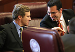 Nevada Sens. Greg Brower, R-Reno, left, and Ruben Kihuen, D-Las Vegas, talk on the Senate floor Friday, April 22, 2011, at the Legislature in Carson City, Nev. .Photo by Cathleen Allison