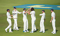 Picture by Allan McKenzie/SWpix.com - 11/09/2014 - Cricket - LV County Championship Div One - Nottinghamshire County Cricket Club v Yorkshire County Cricket Club - Trent Bridge, West Bridgford, England County Cricket Club - Yorkshire's Ryan Sidebottom is congratulated on dismissing Nottinghamshire's Mattheus Wessels.