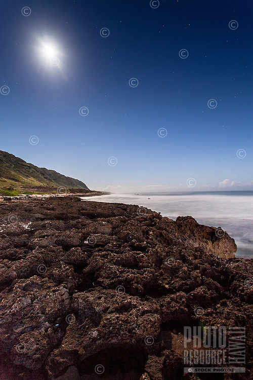 Ka'ena Point shoreline under a full moon, Mokule'ia, O'ahu.