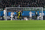 01.12.2019, Volkswagen Arena, Wolfsburg, GER, 1.FBL, VfL Wolfsburg vs SV Werder Bremen<br /><br />DFL REGULATIONS PROHIBIT ANY USE OF PHOTOGRAPHS AS IMAGE SEQUENCES AND/OR QUASI-VIDEO.<br /><br />im Bild / picture shows<br />Yuya Osako (Werder Bremen #08) klärt mit Kopfball, <br />Milos Veljkovic (Werder Bremen #13), <br />Wout Weghorst (VFL Wolfsburg #09), <br />Jiri Pavlenka (Werder Bremen #01), <br />Jeffrey Bruma (VFL Wolfsburg #05), <br />Maximilian Eggestein (Werder Bremen #35), <br />Davy Klaassen (Werder Bremen #30), <br />Joao Victor Santos Sa (VfL Wolfsburg #40), <br />Theodor Gebre Selassie (Werder Bremen #23), <br /><br />Foto © nordphoto / Ewert