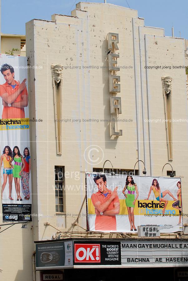 """Asien Suedasien Indien Bombay , Regal Kino im Baustil des Art Deco auf der Colaba - Architektur xagndaz   .South asia India Mumbai , Regal cinema in Art Deco style - architecture   [ copyright (c) Joerg Boethling / agenda , Veroeffentlichung nur gegen Honorar und Belegexemplar an / publication only with royalties and copy to:  agenda PG   Rothestr. 66   Germany D-22765 Hamburg   ph. ++49 40 391 907 14   e-mail: boethling@agenda-fototext.de   www.agenda-fototext.de   Bank: Hamburger Sparkasse  BLZ 200 505 50  Kto. 1281 120 178   IBAN: DE96 2005 0550 1281 1201 78   BIC: """"HASPDEHH"""" ,  WEITERE MOTIVE ZU DIESEM THEMA SIND VORHANDEN!! MORE PICTURES ON THIS SUBJECT AVAILABLE!!  ] [#0,26,121#]"""