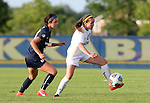 BROOKINGS, SD - August 19:  Jennie Scislow #28 from South Dakota State controls the ball in front of Jordyn Chung-Hoon #20 from Utah State during the second half of their match at Fischback Soccer Field in Brookings. (Photo by Dave Eggen/Inertia)