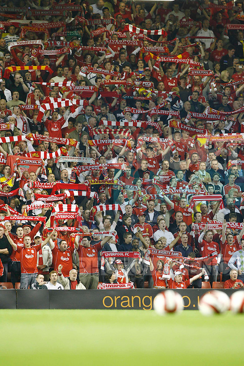 "Liverpool's fans sing ""You'll never walk alone"""