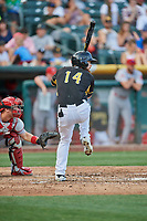 Jared Walsh (14) of the Salt Lake Bees bats against the Memphis Redbirds at Smith's Ballpark on July 24, 2018 in Salt Lake City, Utah. Memphis defeated Salt Lake 14-4. (Stephen Smith/Four Seam Images)