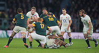 Twickenham, United Kingdom.  Joe LAUNCHBURY, with a crash ball run at the Springboks line, during the Old Mutual Wealth Series match.: England vs South Africa, at the RFU Stadium, Twickenham, England, Saturday, 12.11.2016<br /> <br /> [Mandatory Credit; Peter Spurrier/Intersport-images]