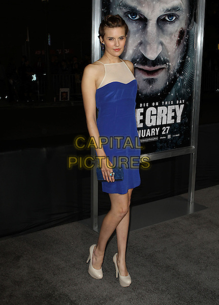 "Maggie Grace.The World Premiere Of ""The Grey"" Held At The Regal cinemas, Los Angeles, California, USA..January 11th, 2012.full length blue dress white sheer sleeveless dress clutch bag shoes beige.CAP/ADM/KB.©Kevan Brooks/AdMedia/Capital Pictures."