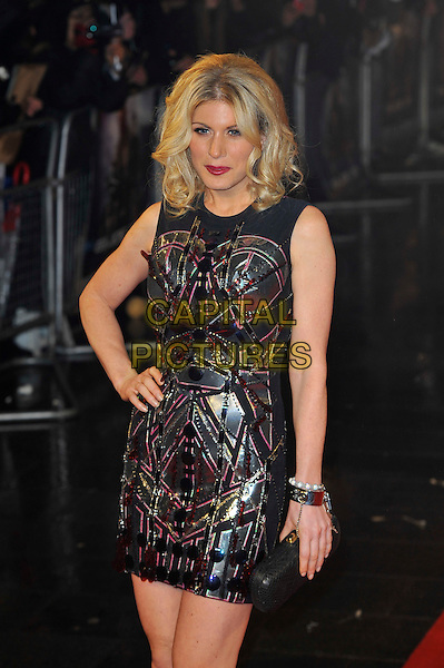 "Hofit Golan.The ""G.I. Joe 2: Retaliation"" UK film premiere, Empire cinema, Leicester Square, London, England..March 18th, 2013.half length silver black sleeveless dress hand on hip clutch bag silver gold pink metallic bracelet.CAP/MAR.© Martin Harris/Capital Pictures."
