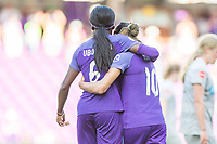 Orlando, FL - Sunday May 14, 2017: Chioma Ubogagu, Marta during a regular season National Women's Soccer League (NWSL) match between the Orlando Pride and the North Carolina Courage at Orlando City Stadium.