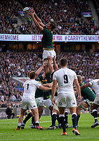 South Africa's Eben Etzebeth claims the lineout<br /> <br /> Photographer Bob Bradford/CameraSport<br /> <br /> Quilter Internationals - England v South Africa - Saturday 3rd November 2018 - Twickenham Stadium - London<br /> <br /> World Copyright © 2018 CameraSport. All rights reserved. 43 Linden Ave. Countesthorpe. Leicester. England. LE8 5PG - Tel: +44 (0) 116 277 4147 - admin@camerasport.com - www.camerasport.com