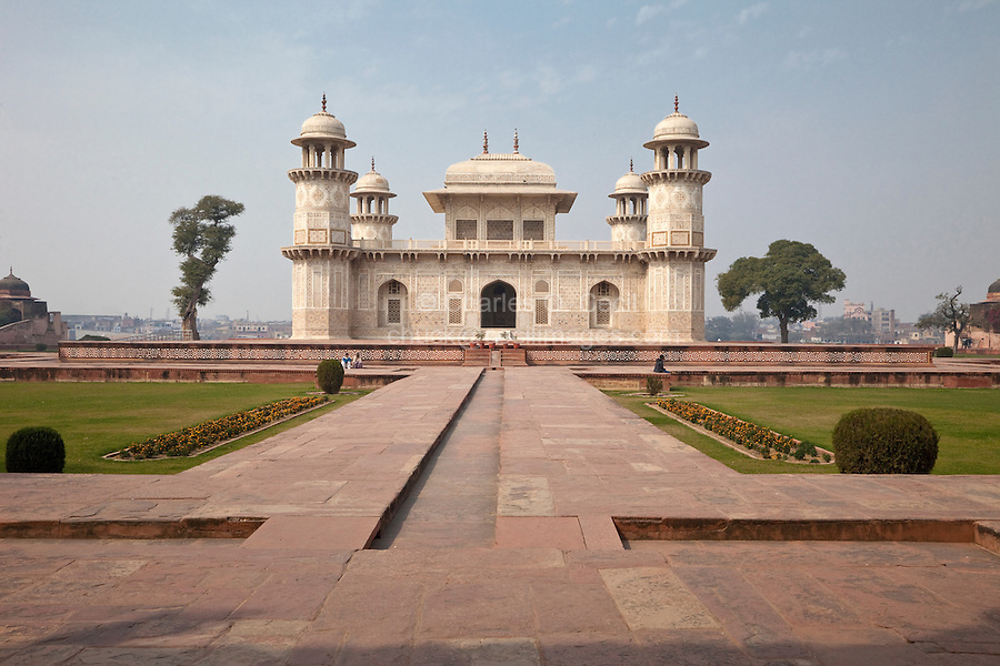 "Agra, India.  Itimad-ud-Dawlah, Mausoleum of Mirza Ghiyas Beg.  The tomb is sometimes referred to as the ""Baby Taj."""