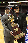 LAS VEGAS, NV - MARCH 8:  Randy Bennett with Mark Orr after Saint Mary's 81-62 win over the Gonzaga Bulldogs in the championship game of the 2010 Zappos West Coast Conference Basketball Championships on March 8, 2010 at Orleans Arena in Las Vegas Nevada.