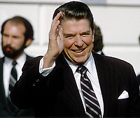 Washington DC., USA, 1984<br /> President Ronald Reagan waves good bye on the driveway.<br /> Credit: Mark Reinstein Credit: Mark Reinstein/MediaPunch