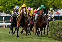 ELMONT, NY - JUNE 09: #4 Lull leads the field in the Longines Just a Game Stakes on Belmont Stakes Day at Belmont Park on June 9, 2018 in Elmont, New York. (Photo by Dan Heary/Eclipse Sportswire/Getty Images)
