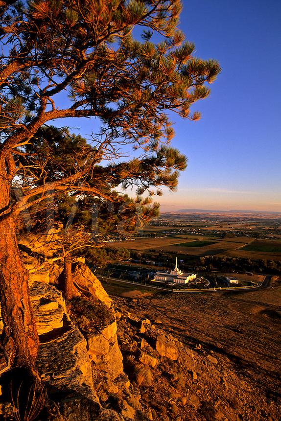 Colorful sunset and Mormon Church at The Rim of  Billings Montana