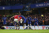Harry Maguire of Manchester United scores their second goal with a fine header during Chelsea vs Manchester United, Premier League Football at Stamford Bridge on 17th February 2020