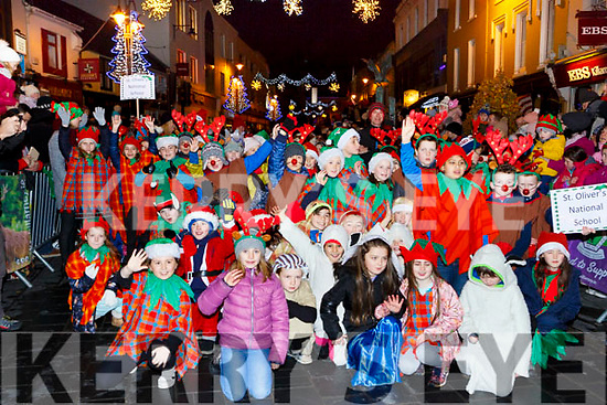 St olivers  NS pupils marching in the Kiilarney Christmas parade through the packed streets  on Saturday night