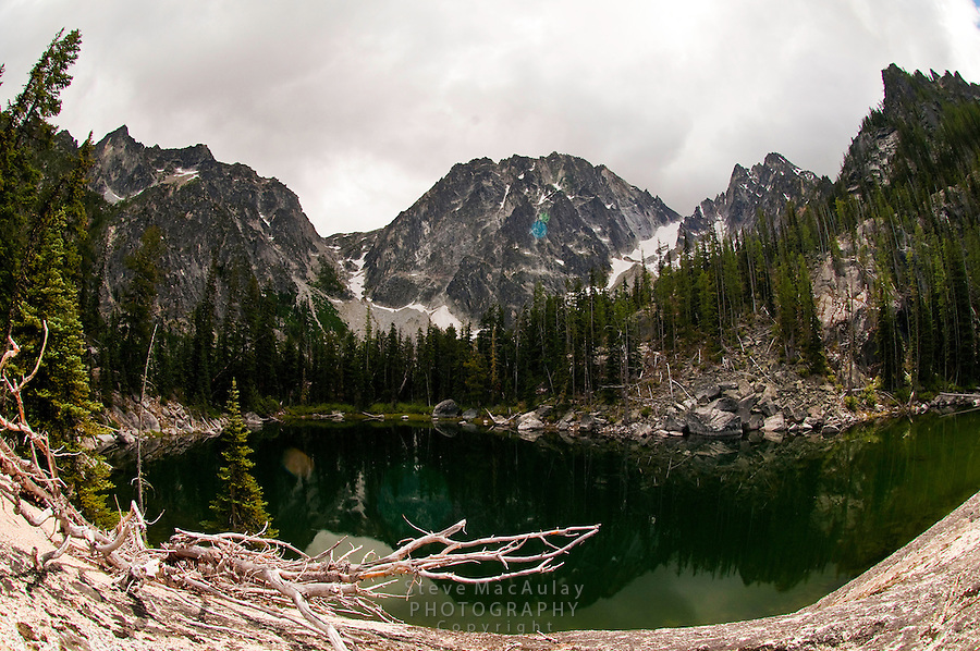 Scenic view of Dragontail Peak and Colchuck Lake, Alpine Lakes Wilderness, WA.