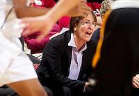 Stanford, California.,--November 25, 2012-- Director of Women's Basketball Tara VanDerveer watches Saturday, November 25, 2012, game against Long Beach State at Stanford. Stanford won 77-41.