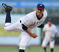 NWA Democrat-Gazette/ANDY SHUPE<br /> Northwest Arkansas Naturals starter Kyle Zimmer delivers a pitch Wednesday, Aug. 12, 2015, against San Antonio during the third inning at Arvest Ballpark in Springdale.