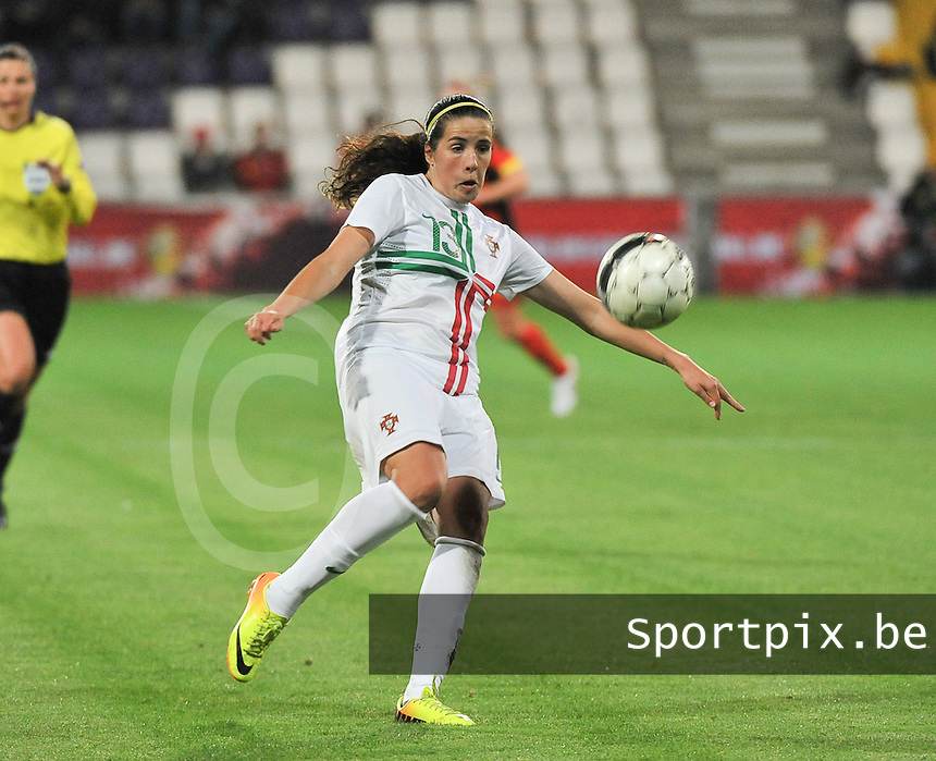 20131031 - ANTWERPEN , BELGIUM : Portugese Filipa Rodrigues pictured during the female soccer match between Belgium and Portugal , on the fourth matchday in group 5 of the UEFA qualifying round to the FIFA Women World Cup in Canada 2015 at Het Kiel stadium , Antwerp . Thursday 31st October 2013. PHOTO DAVID CATRY
