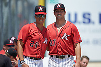Kannapolis Intimidators pitchers Andrew Perez (24) and Bennett Sousa (27) pose for a photo prior to the game against the Greensboro Grasshoppers at Kannapolis Intimidators Stadium on August 5, 2018 in Kannapolis, North Carolina. The Grasshoppers defeated the Intimidators 2-1 in game one of a double-header.  (Brian Westerholt/Four Seam Images)