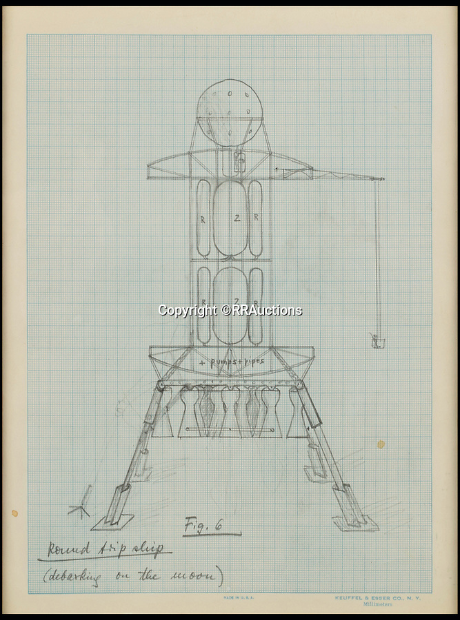 BNPS.co.uk (01202 558833)<br /> Pic: RRAuctions/BNPS<br /> <br /> von Braun's 'Round trip' sketch of the lunar lander from 1952.<br /> <br /> Fly me To The Moon - Controversial 'father of the space race' Wernher von Braun's incredible 1950's drawings, calculations and letters that led to the conquest of the moon.<br /> <br /> Pioneering drawings by the infamous Nazi scientist, who was recruited by the Americans at the end of WW2 in order to help them win the Space Race against Soviet Russia have emerged for sale for £70,000.<br /> <br /> Dr Wernher von Braun led the Nazi rocket development program during the war and was the brains behind the dreaded V-2 rocket which killed 16,000 Londoners.<br /> <br /> But unlike other members of the German high command he was controversially not prosecuted for war crimes at the infamous Nuremburg Trials.<br /> <br /> Instead, he was secretly transported to the US and put in charge of their fledgling ballistic missile program.<br /> <br /> This technology was later used by von Braun to create the mighty Saturn V rockets that eventually took man to the moon.