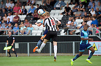 Dayle Southwell of Wycombe Wanderers  wins the header from Charlie Wassmer of Maidenhead United during the Friendly match between Maidenhead United and Wycombe Wanderers at York Road, Maidenhead, England on 30 July 2016. Photo by Alan  Stanford PRiME Media Images.